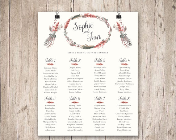 Wedding Seating Chart Plan Rustic Boho Decor Feather Floral Wreath