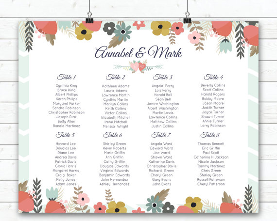Wedding Seating Chart Template Free Printable. Regal Scroll