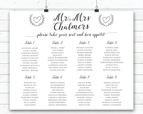 Wedding Seating Sign Black And White Wedding Seating Plan Modern