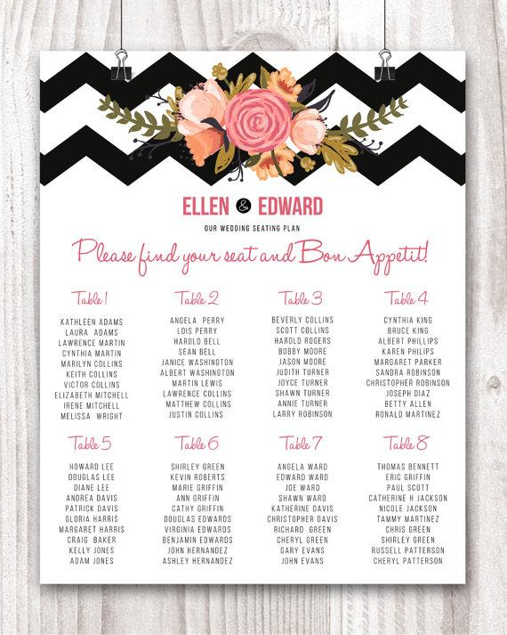 Wedding Seating Chart Wedding Seating Sign Wedding Seating Plan