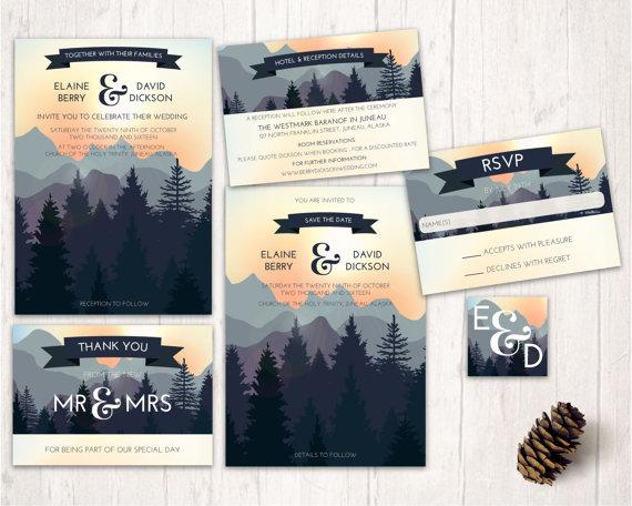mountain wedding invitations nature inspired wedding design printable wedding invitation set forest woodlands wedding invites stationary - Mountain Wedding Invitations