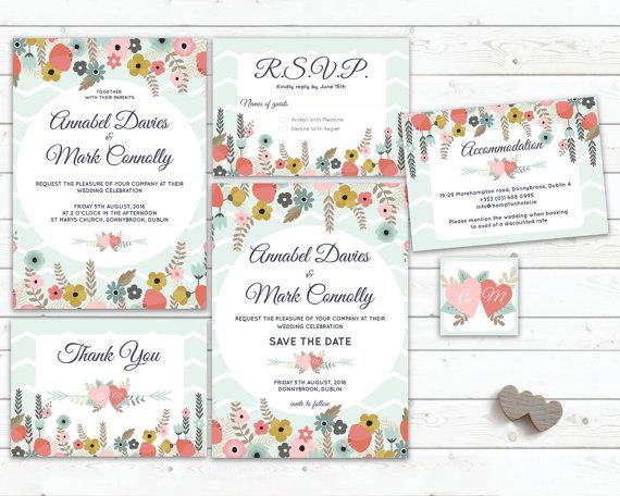 Printable Wedding Invitations Mint Wedding Invite Floral Invite
