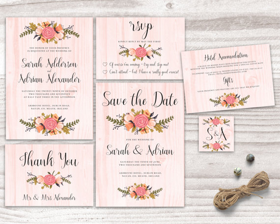 Wedding - Printable Wedding Invitation, flowers invite floral rustic wood peach pink colourful stationary diy instant download digital marriage