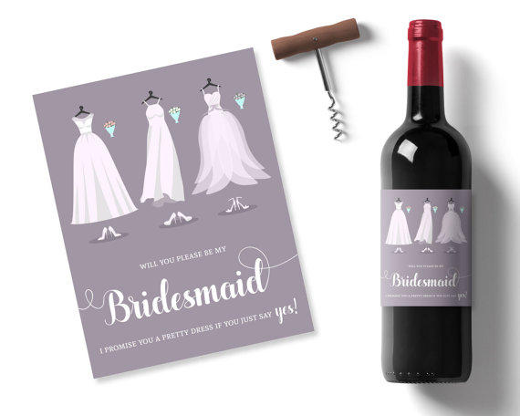 Boda - purple bridesmaid wine labels, purple wedding ideas, lilac wedding wine label, custom message wine labels, printable wedding ideas mauve