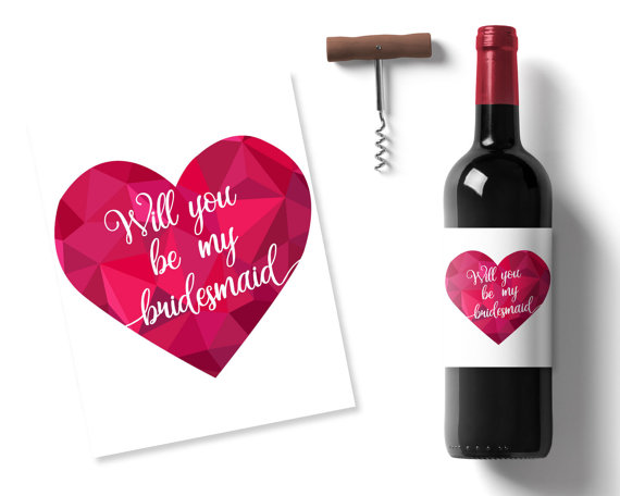 photo relating to Printable Wine Label identify Will By yourself Be My Bridesmaid Wine Label, Center Printable Wine