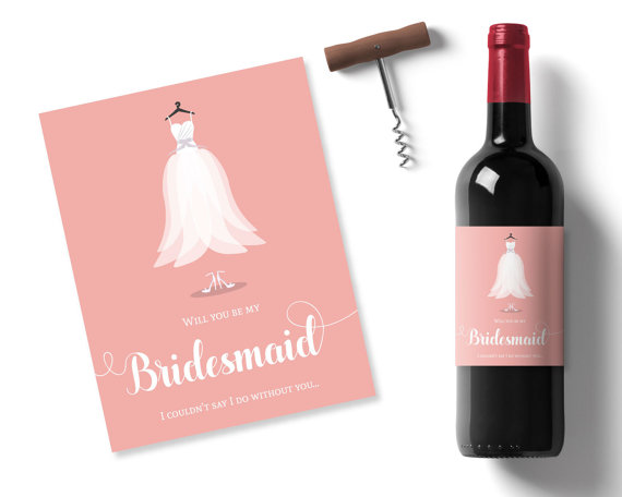 Свадьба - will you be my bridesmaid idea, peach printable wine label, bridesmaid dress sticker, personalised wine label, maid of honor wine stickers