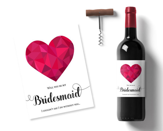 Wedding - will you be my bridesmaid gift, best friend bridesmaid ask, wine bottle label, bridesmaid invite, heart wine label, maid of honor gift idea