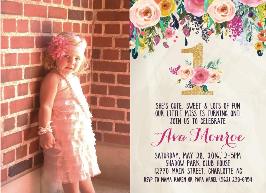 Wedding - First Birthday Party Invitation, 30th, 40th, Watercolor, Flowers,Floral, Shower Invitation, Floral Invite, Flower Invite -  sfc