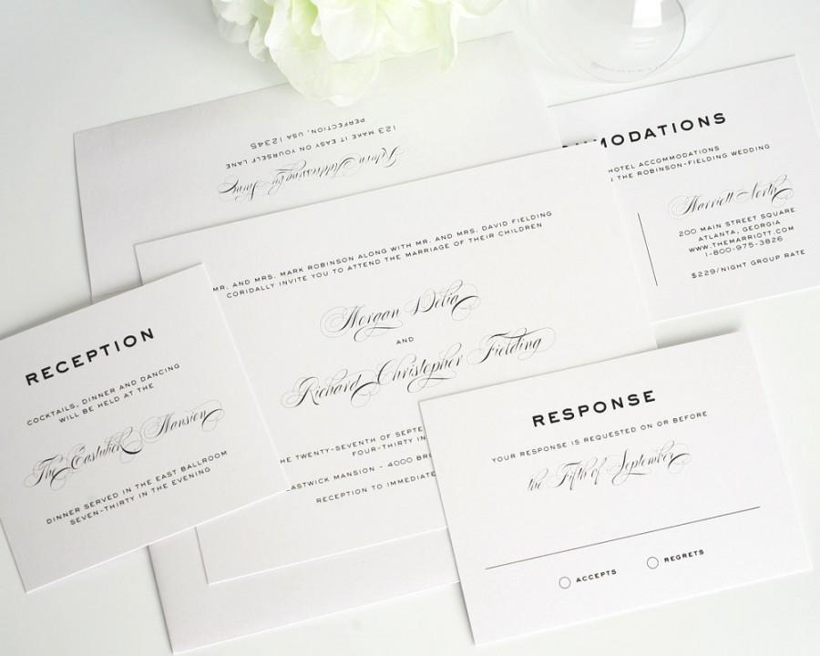 Hochzeit - Traditional Wedding Invitation, Script, Gray, White, Black, Script Wedding Invites, Simple - Classic Vintage Wedding Invitation - Sample Set