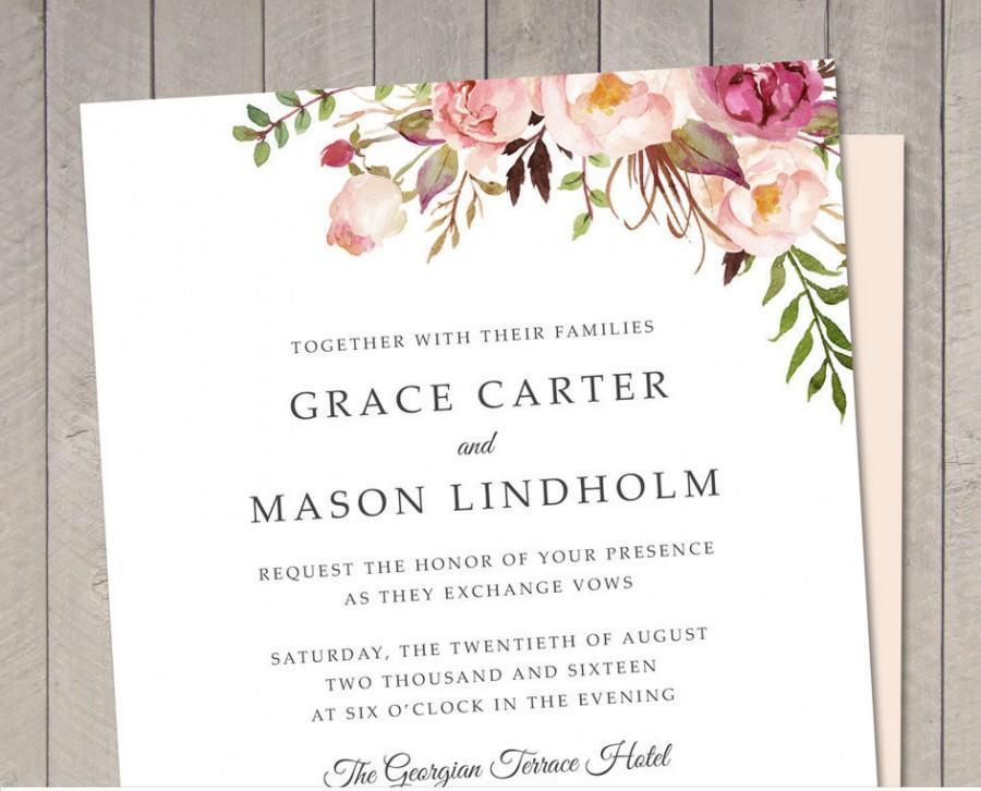 Hochzeit - Floral Wedding Invitation (Printable) DIY by Vintage Sweet