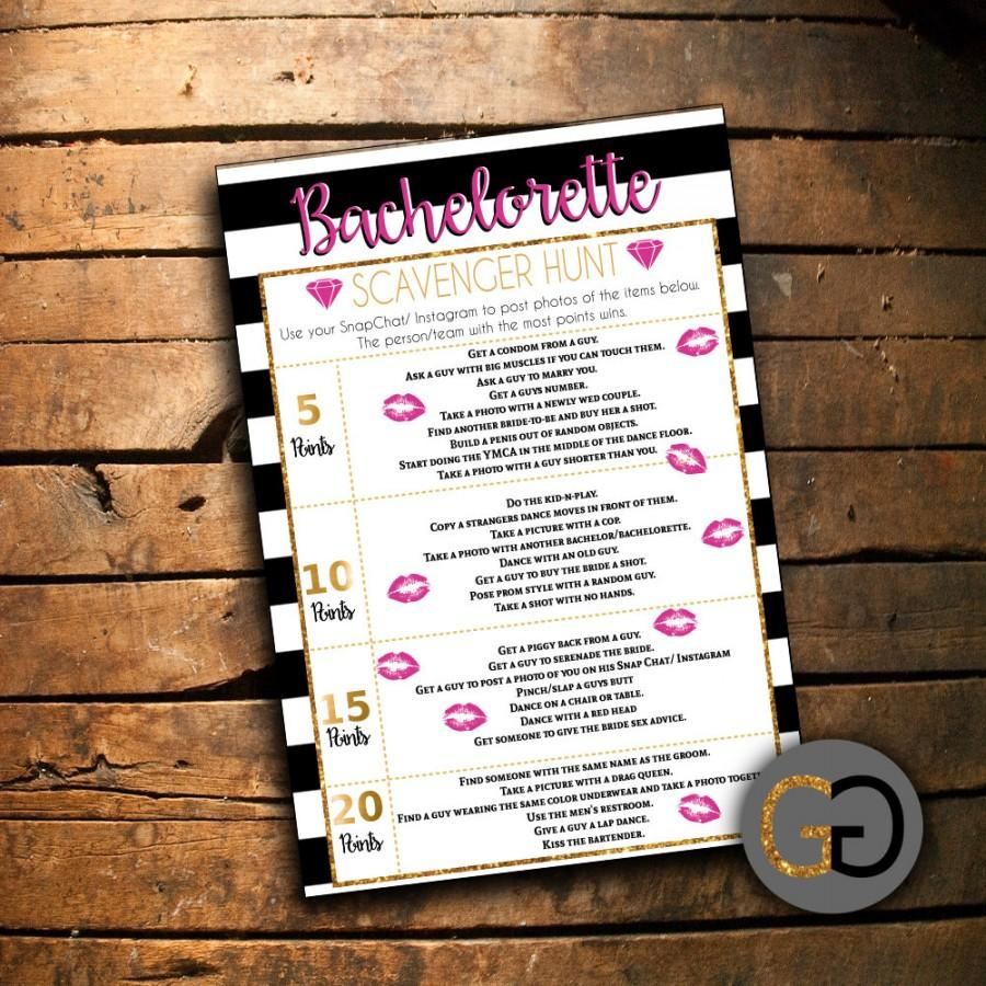 picture regarding Printable Bachelorette Scavenger Hunt referred to as Do it yourself PRINTABLE - Bachelorette Scavenger Hunt Recreation #2556370