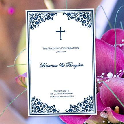 "Hochzeit - Catholic Wedding Program ""Faith"" Navy Blue 8.5 x 11 Fold Word.doc Template Instant Download Any Color Make Your Own Programs DIY You Print"