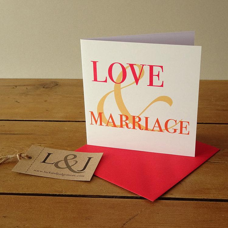 Hochzeit - Wedding card - engagement card - red - orange - engagement congratulations - love & marriage - happy couple - wedding invite - husband to be