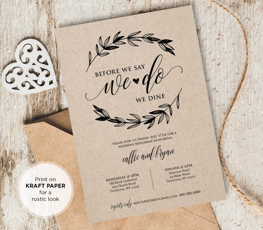rustic wedding rehearsal invitation instant download printable