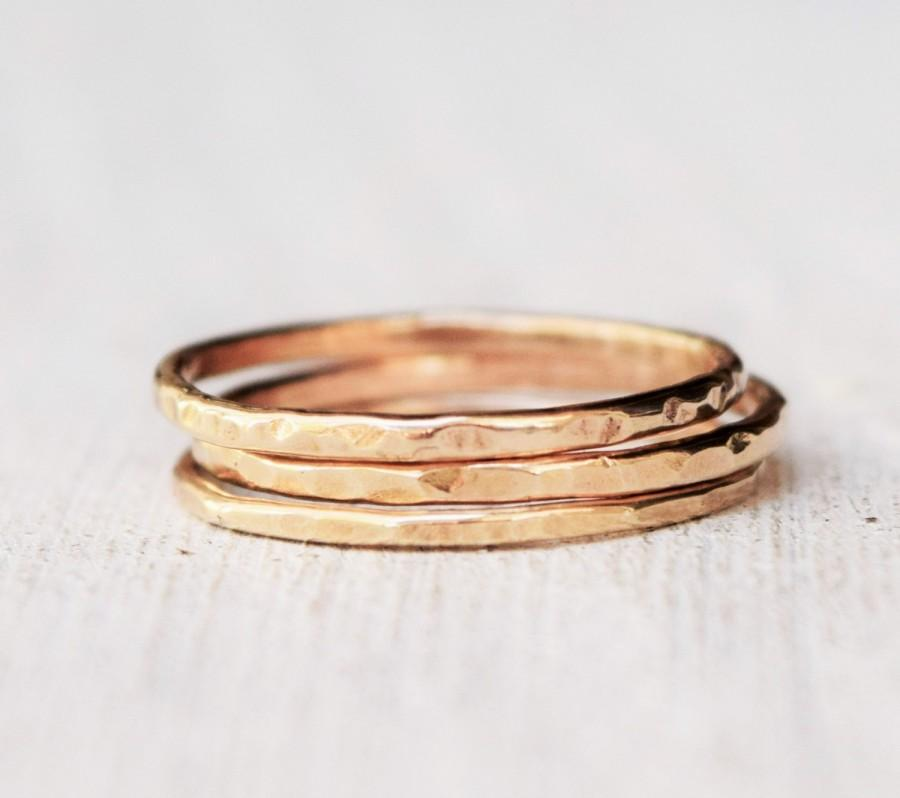 Solid Gold Rings Set Three 14 Karat Gold Delicate Jewelry