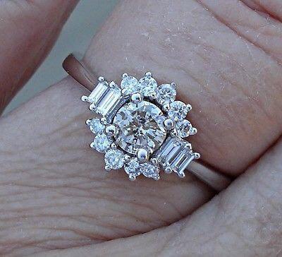 زفاف - 18K Diamond Flower Engagement Ring - 0.76 Carat Unique Starburst White Gold
