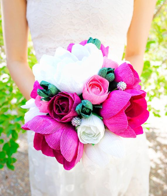 Wedding - Handmade Crepe Paper Flower, Paper Flower Bouquet, Wedding Bouquet, Bridesmaid Bouquet, Decoration, Summer, Spring, Bridal Bouquet
