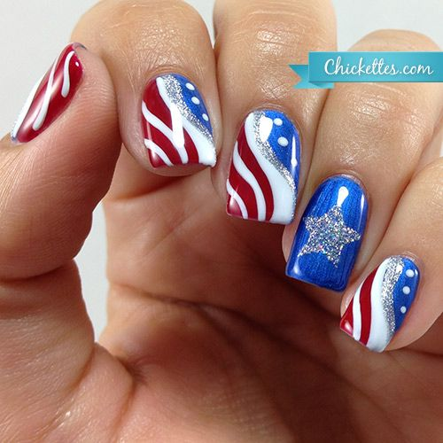 زفاف - Patriotic Fourth Of July Nail Art (Chickettes)