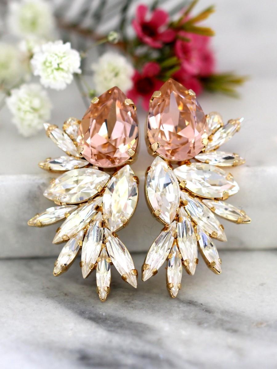 زفاف - Blush Statement Earrings,Bridal Blush Earrings, Swarovski Bridal Earrings,Cocktail Earrings,Big Earring, cocktail earrings, Wedding Earrings