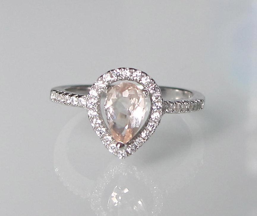 زفاف - Pear Shape Morganite Ring- Engagement Ring- Promise Ring- Halo Morganite Ring- Gemstone Ring- Stone Ring- Tear Shape Ring- Ring