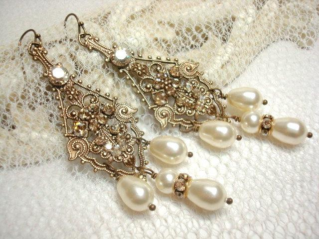 Bridal Vintage Style Earrings, Pearl Wedding Earrings, Chandelier ...