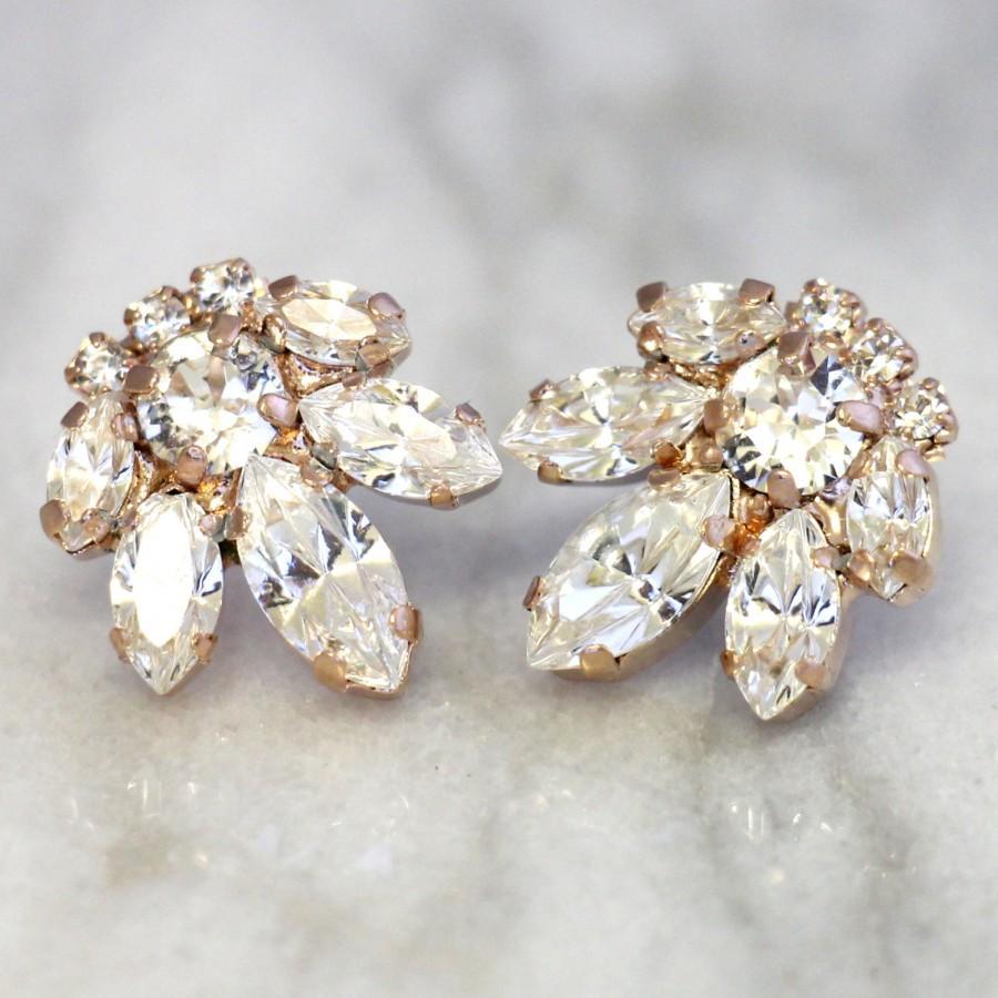 زفاف - Bridal Earrings,Swarovski Crystal Earrings,Cluster Earrings,Bridesmaids Swarovski Earrings,Bridal Rose Gold Earrings,Bridal Swarovski Studs