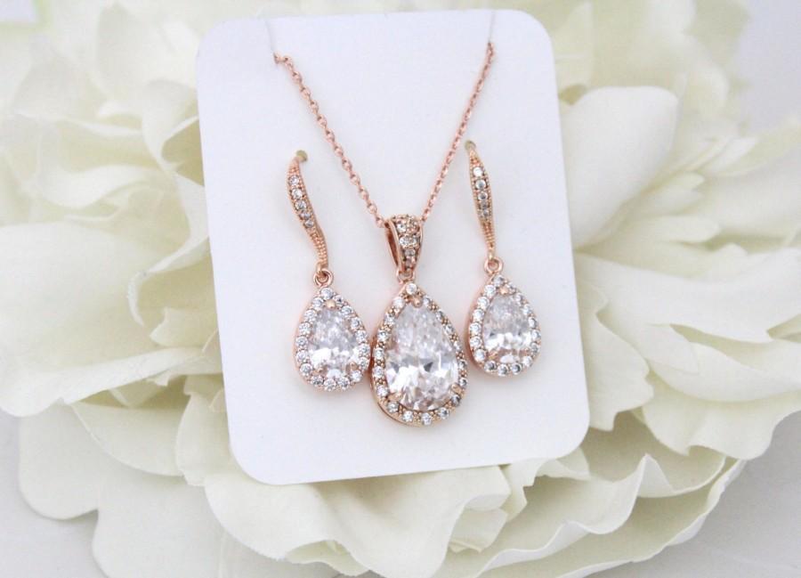 زفاف - Rose Gold Bridal set, Bridesmaids jewelry set, Rose gold earrings, Wedding jewelry, Crystal earrings, Teardrop necklace, Necklace set