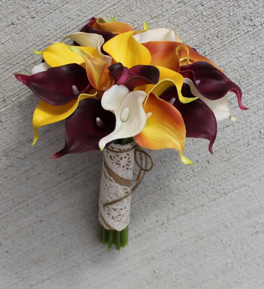 Fall Wedding Bouquet Calla Lily Bouquet Orange Bouquet Real Touch