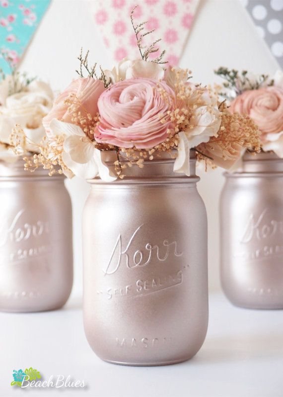 Rose Gold Wedding Decor Blush Wedding Centerpiece Painted Mason Jars