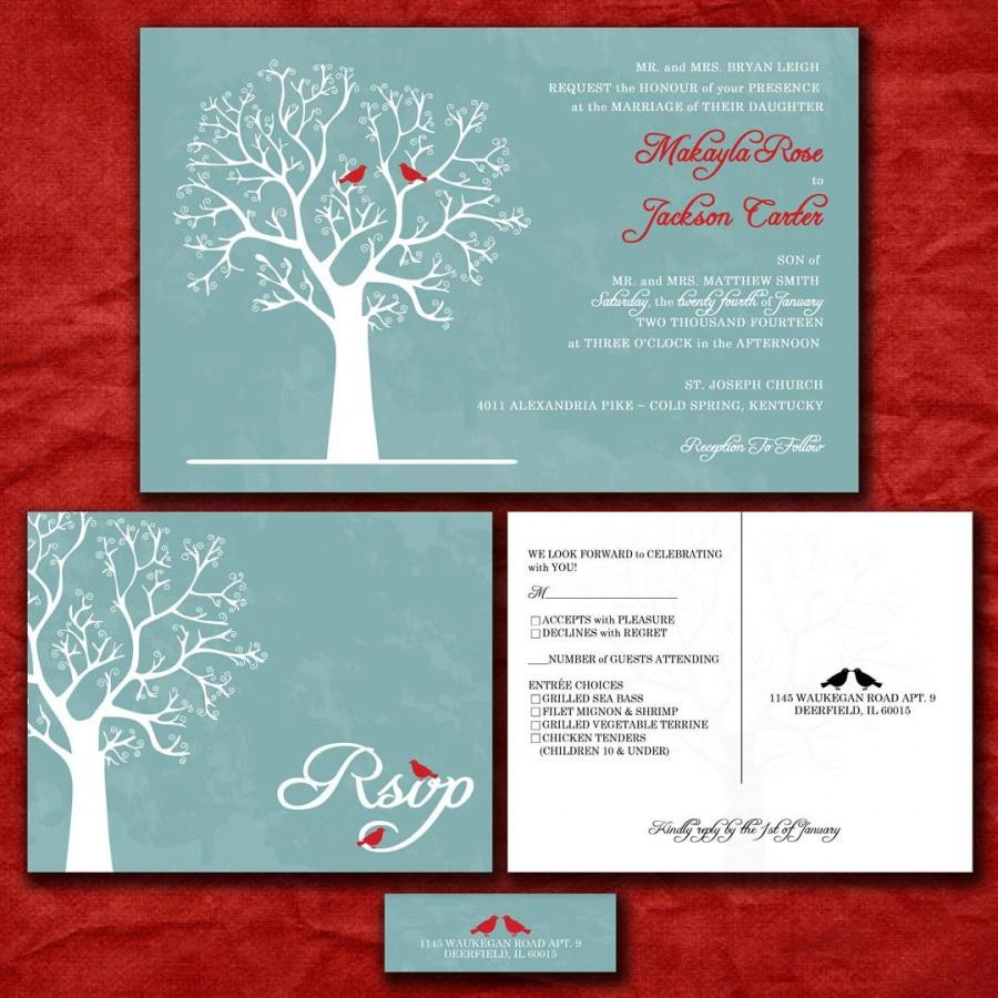 Custom Wedding Invitation Set - Love Birds In Winter Blue And Red ...