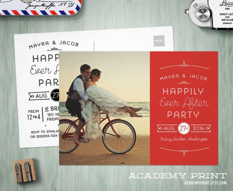 printable post wedding photo postcard invitation happily ever after save the date w postcard back custom wedding reception invite - Post Wedding Reception Invitation Wording