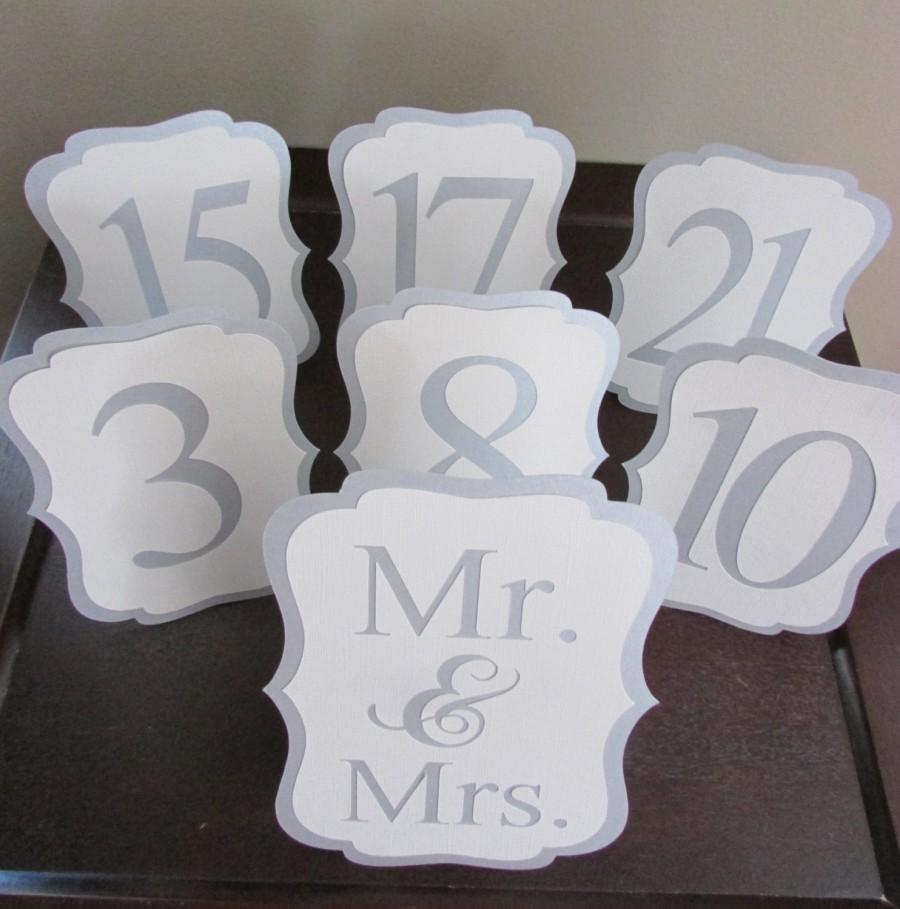 Elegant Wedding Table Number Silver Shimmer And White Numbers Custom Color