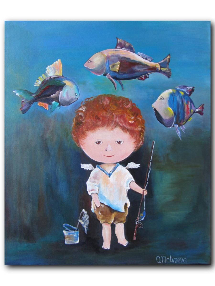 Fisherman Original Acrylic Painting Gift For Him Home Decor Angels