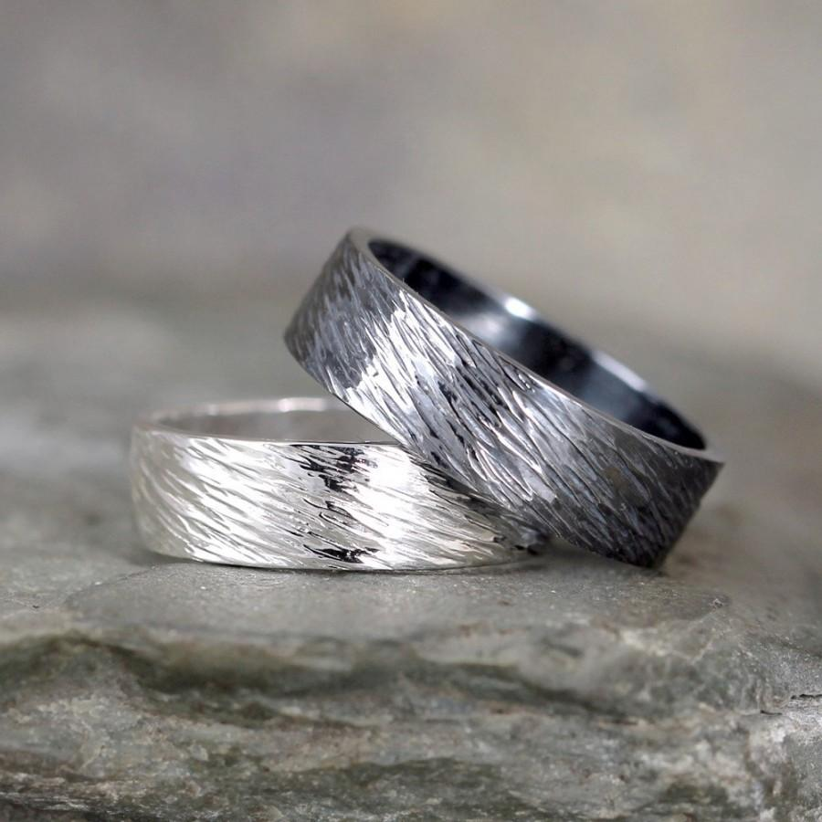 simple wedding rustic recycled mm ring silver mens media or bands brushed oxidized engagement commitment unique minimalist band black