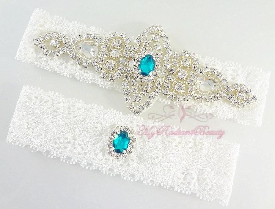 Свадьба - Bridal Garter, Wedding Garter Set, Crystal Applique Garter, Turquoise Rhinestone Garter, Handmade Custom Garter, Beaded Garter GTA0056T