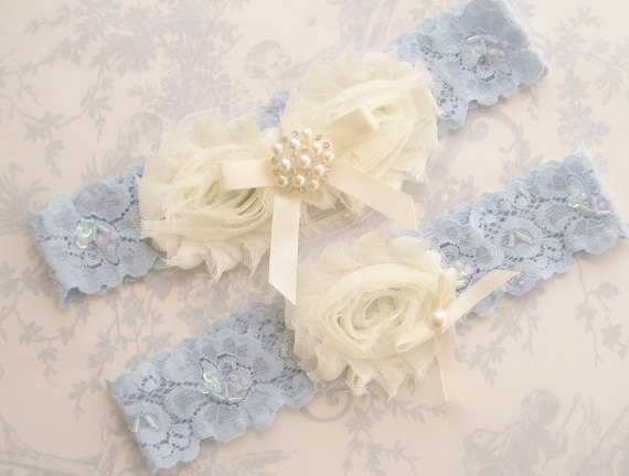7adf40876 Blue Garter- Wedding Garter Set Blue Lace Toss Garter included Ivory with  Rhinestones and Pearls Custom Wedding colors
