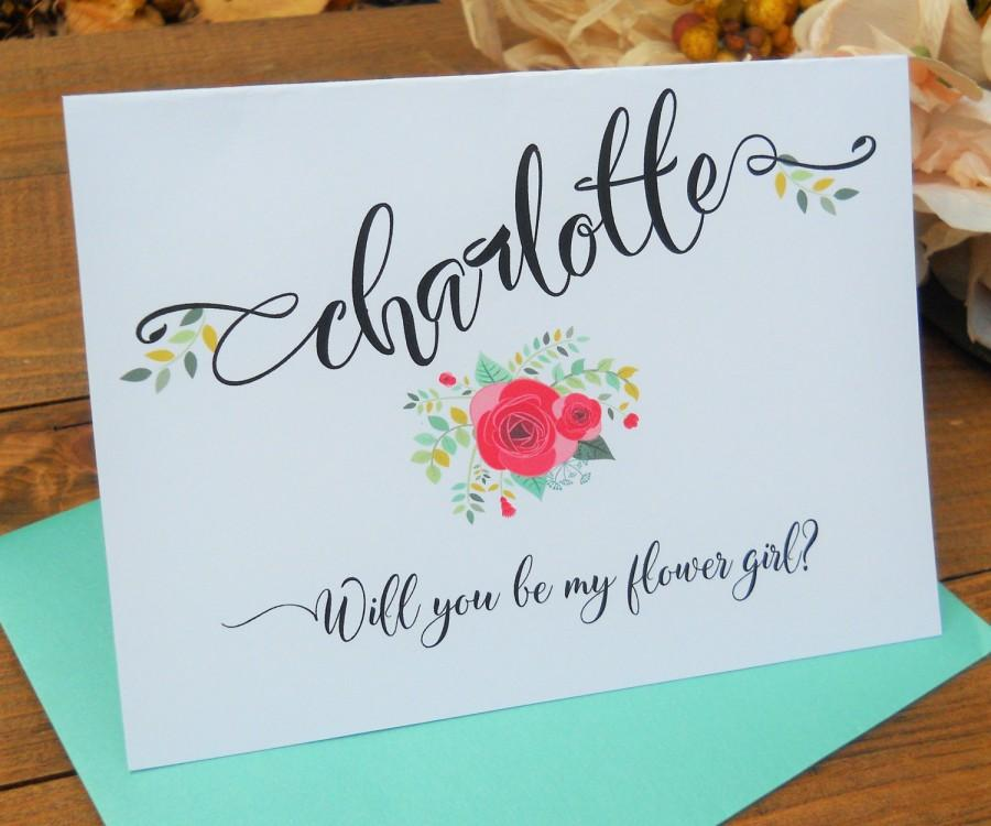 Best Wedding Gift For Girl: PERSONALIZED Will You Be My FLOWER GIRL Card, Shimmer