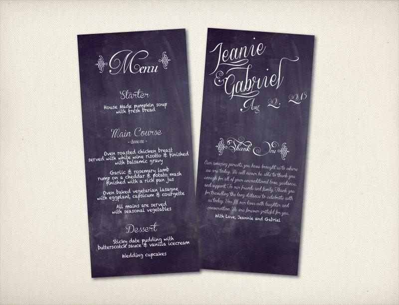 Wedding Menu With Thank You Card, Rustic Calligraphy Menu, Modern