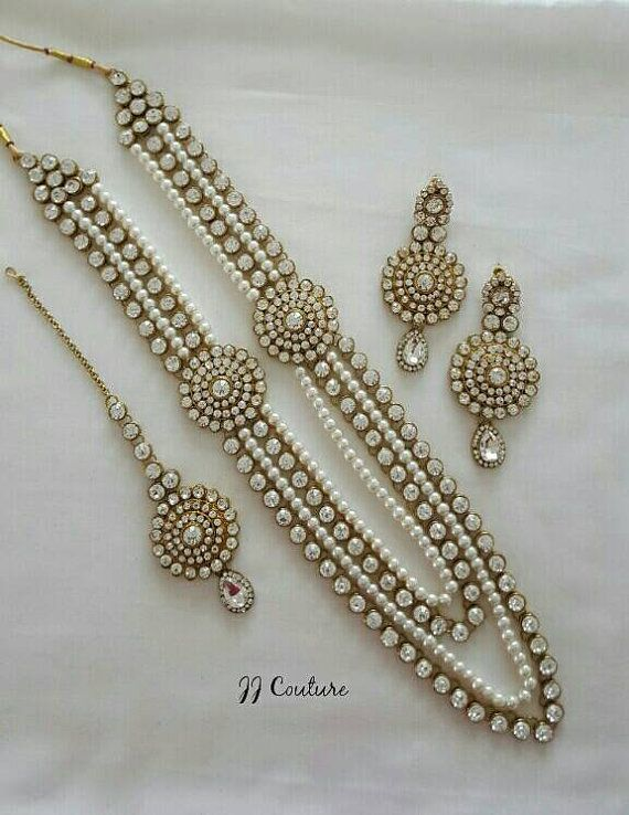 dc8760a709f40 Designer Pearl Kundan Jewelry Set Indian Jewelry Kundan Jewellery ...