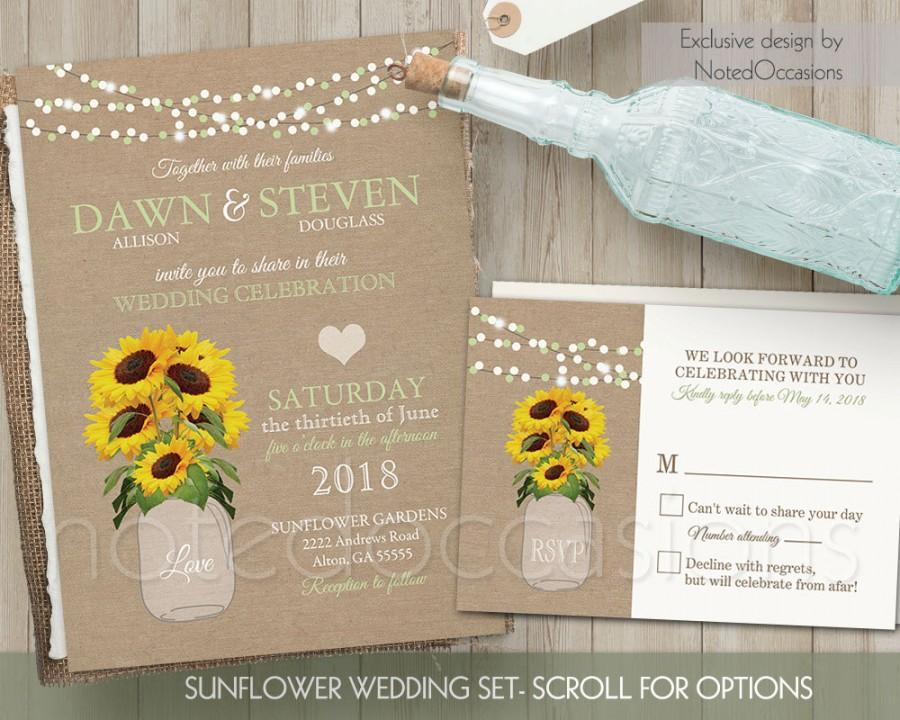 Sunflower Wedding Invitation Set Rustic Wedding Invitation Rustic - Sunflower wedding invitations templates