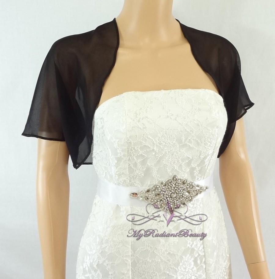 Black chiffon jacket bridal bolero wedding bolero jacket for Cocktail dress with jacket for wedding