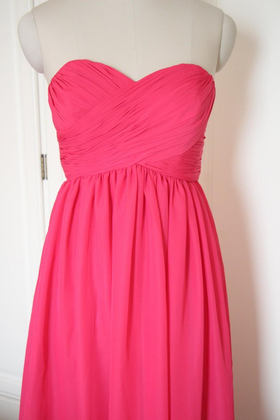 Свадьба - Rose Long Chiffon Sweetheart Bridesmaid Dress Floor-length Rose Strapless Bridesmaid Dress-Custom Dress