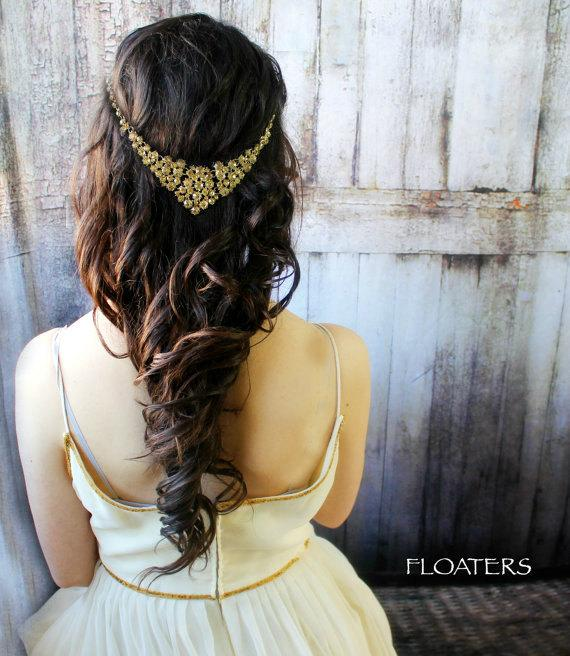 Свадьба - Bridesmaid Hair Accessories, Bridesmaid Hair Jewelry, Gold Bridesmaid Jewelry Set