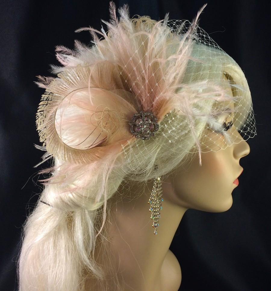 Wedding - Bridal Fascinator, Feather Wedding Head Piece, Feather Fascinator, Bridal Hair Accessories, Bridal Veil Set, Ivory and Blush, Great Gatsby