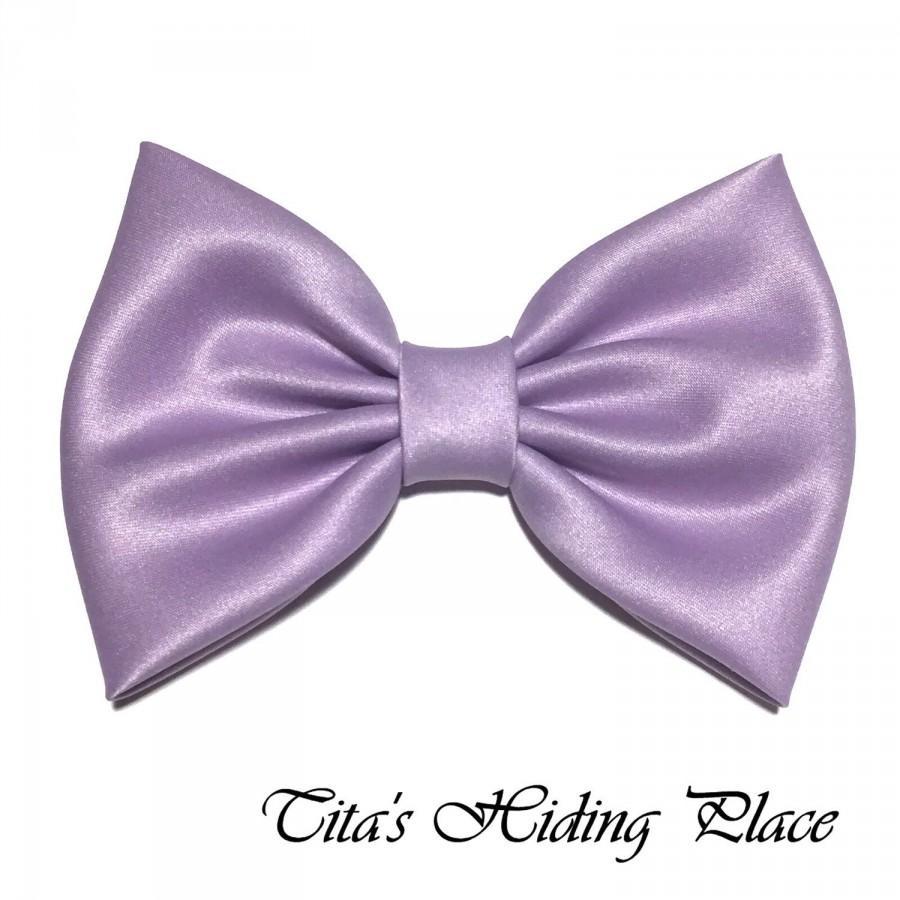 Hochzeit - Lilac Hair Bow, Satin Hair Bow Clip, Bows For Women, Kawaii Bows, Handmade Bow, Satin Fabric Bow, Lolita, Big Bow, Baby Girl Bow, 039