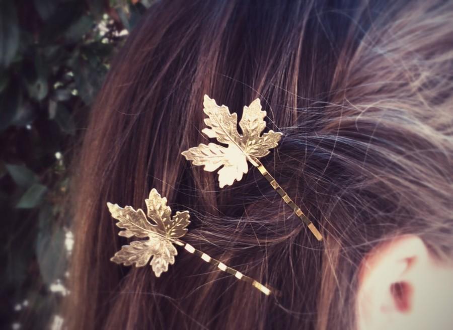 زفاف - Maple Leaf Hair Pins Gold Maple Leaf Bobby Pin Leaf Hair Clip Bridal Hair Woodland Wedding
