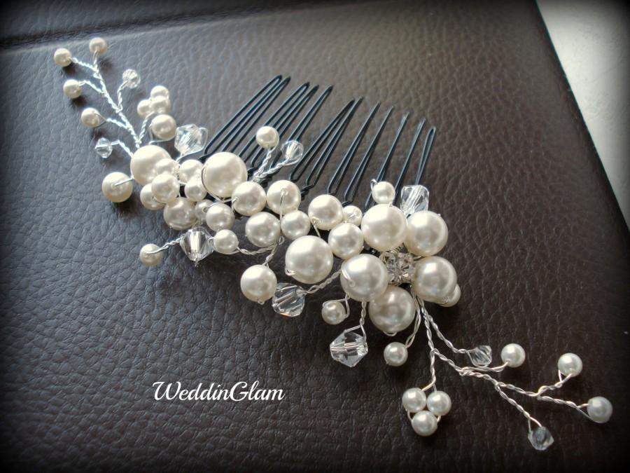 Hochzeit - Bridal Hair Comb, Wedding Hair Accessories, Swarovski pearls crystals, Rhinestones, Hand-wired, Ivory Elegant Headpiece, White flower comb