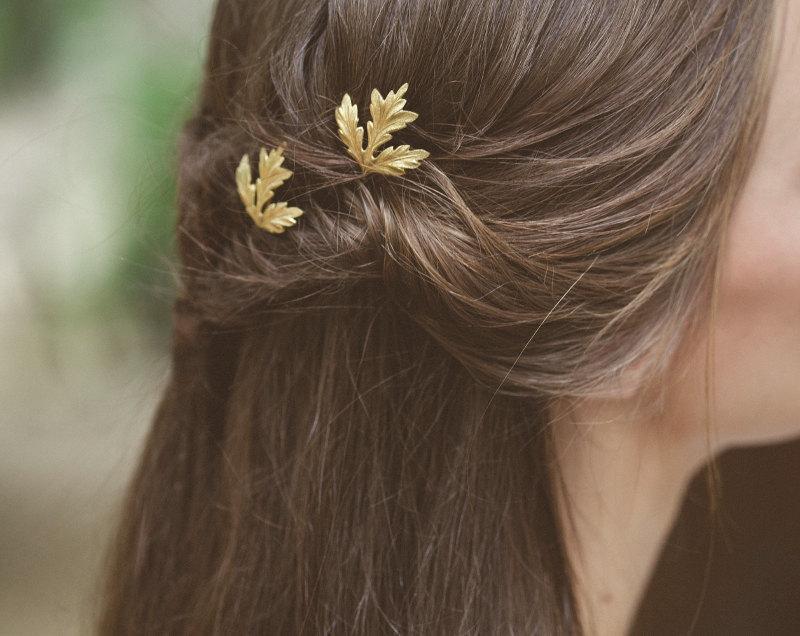 زفاف - Gold Thistle Leaf Bobby Pins Leaf Hair Pins Leaf Hair Clips Bridal Hair Pin Bridal Hair Clip Woodland Wedding Bridal Hair Accessories Summer