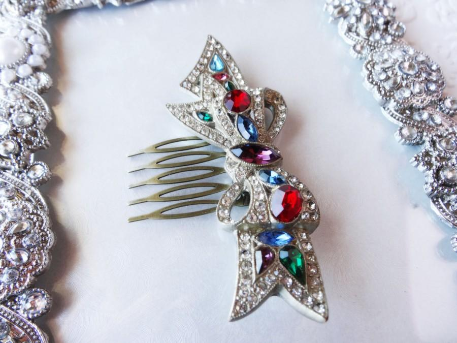 Свадьба - Rhinestone Hair Comb - Royal Bow - Jewel Hair Comb - Champagne Hair Jewelry - Christmas Bow - Christmas Present for Women - Adult Headpiece