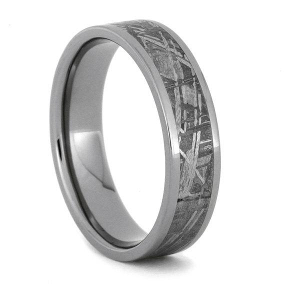 Custom Made Meteorite Wedding Band, Titanium Ring
